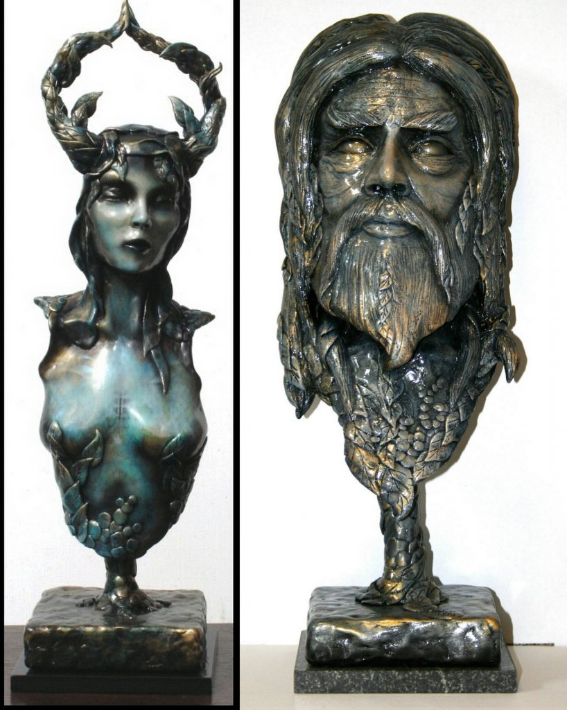 Flower Child and Father Time - Sculptures by Paul Ehlen