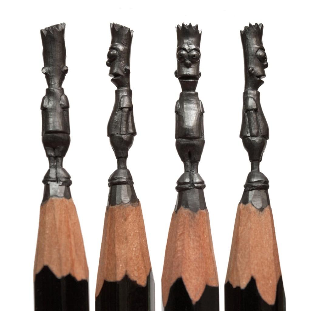 Micro Sculptures - pencil carving by Salavat Fidai - Bart Simpson