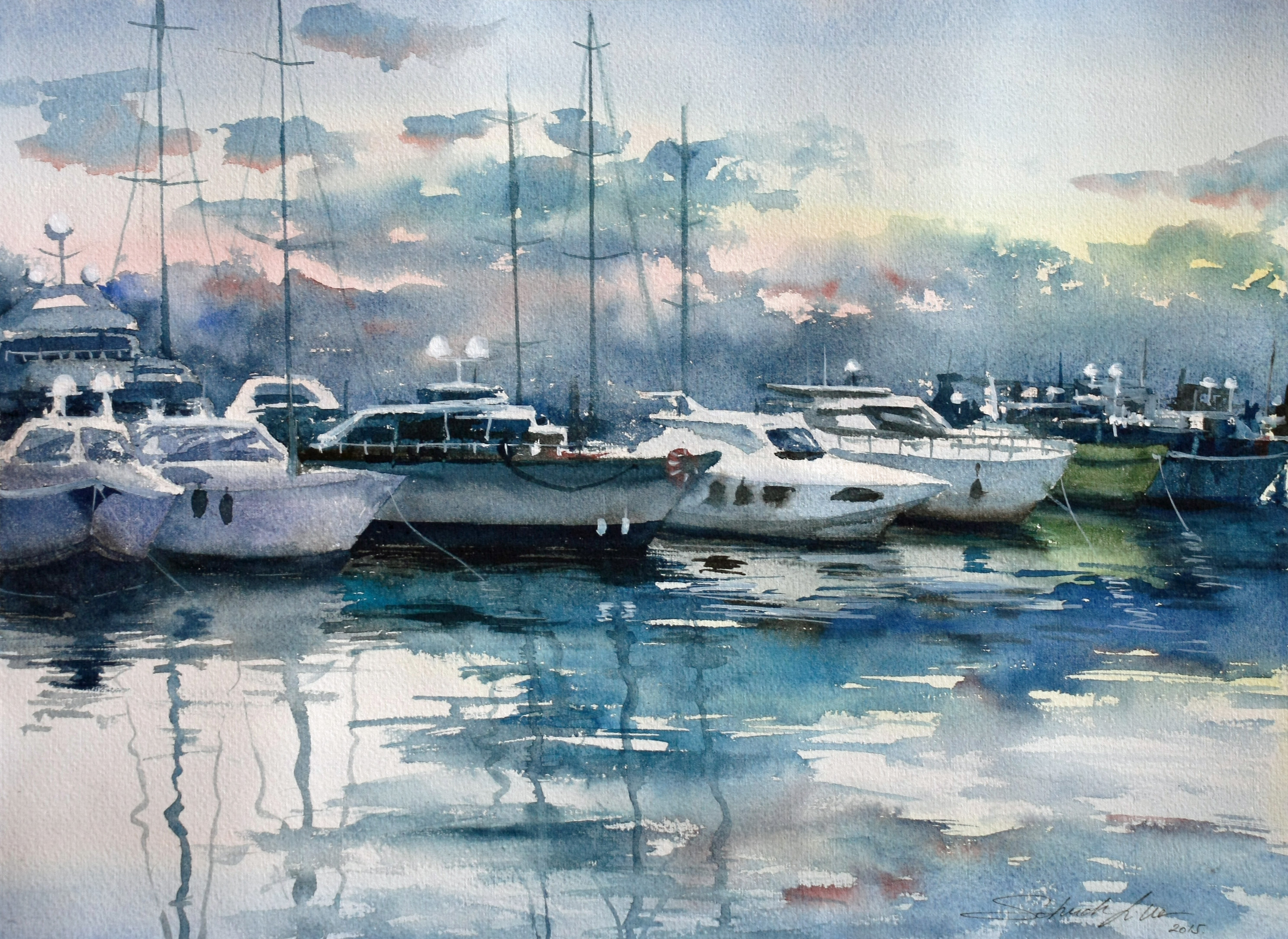 Athens boats - Watercolor paintings by Lilla Schuch