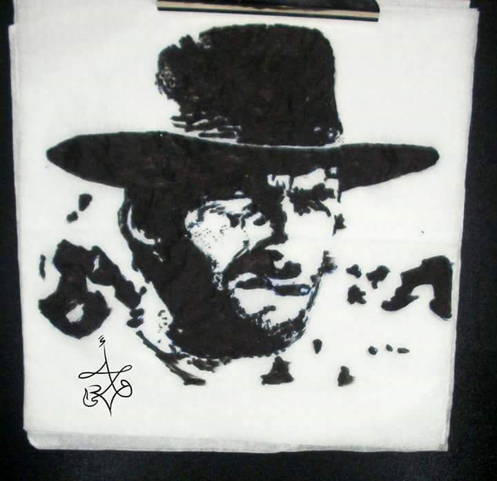 Clint Eastwood - Ink on napkins by Abd Ulala Faisal
