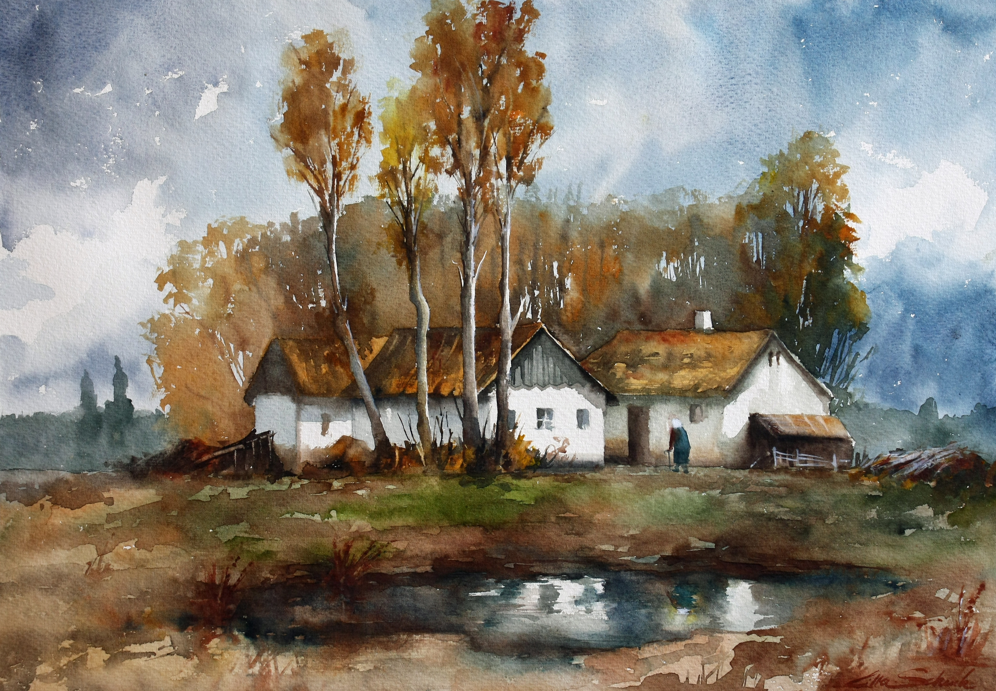 Grandmothers house - Watercolor paintings by Lilla Schuch