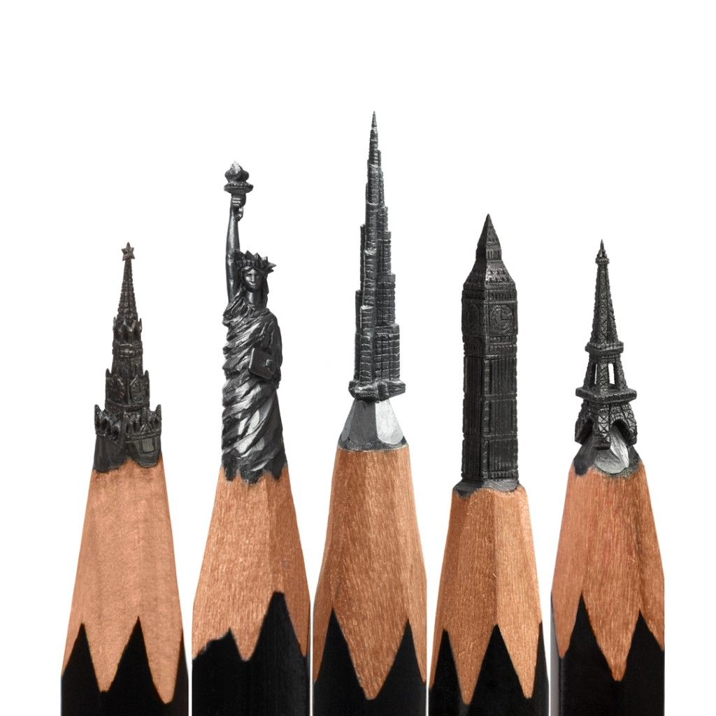 Salavat fidal pencil tip carving micro sculptures
