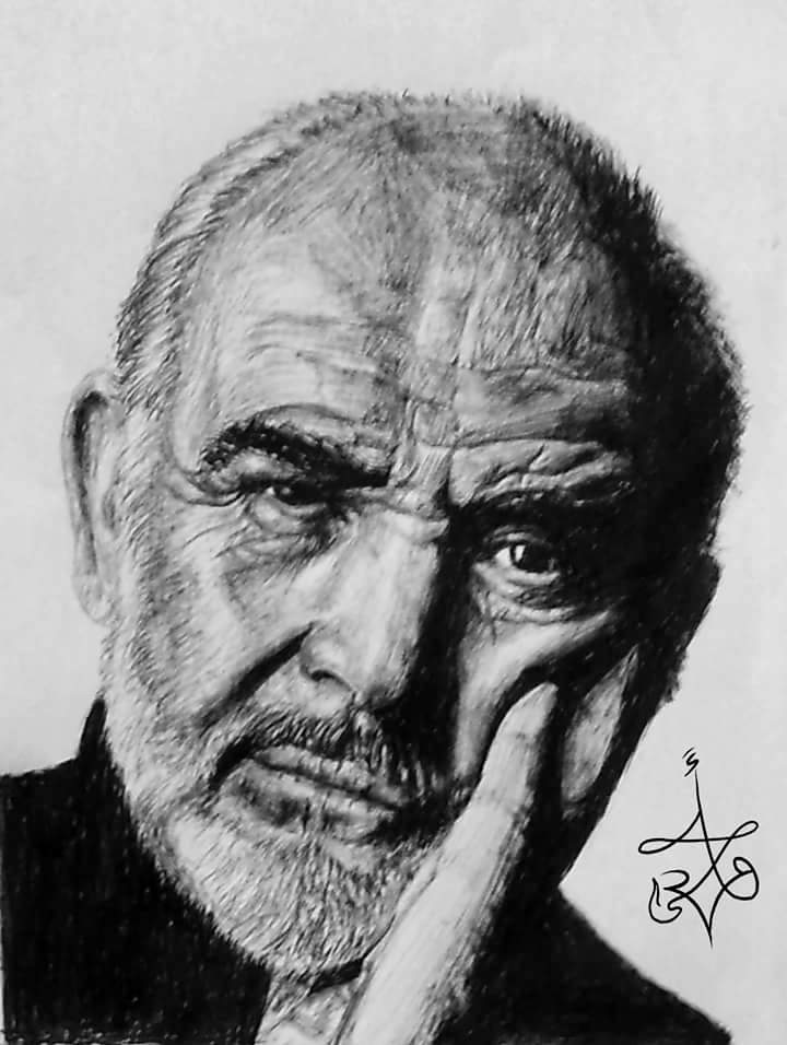 Sean Connery - Ballpoint pen drawings by Abd Ulala Faisal