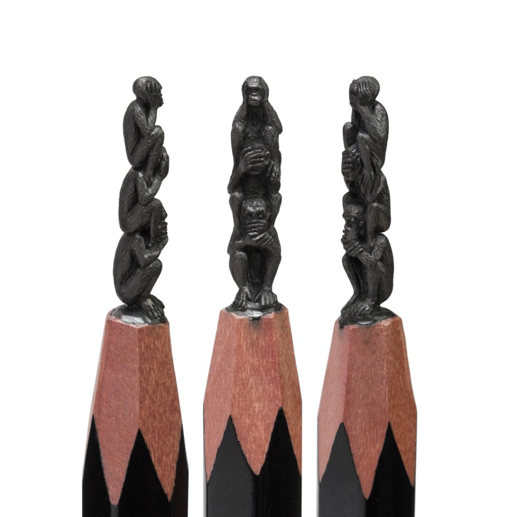 Three Monkeys - Micro Sculptures - pencil carving by Salavat Fidai