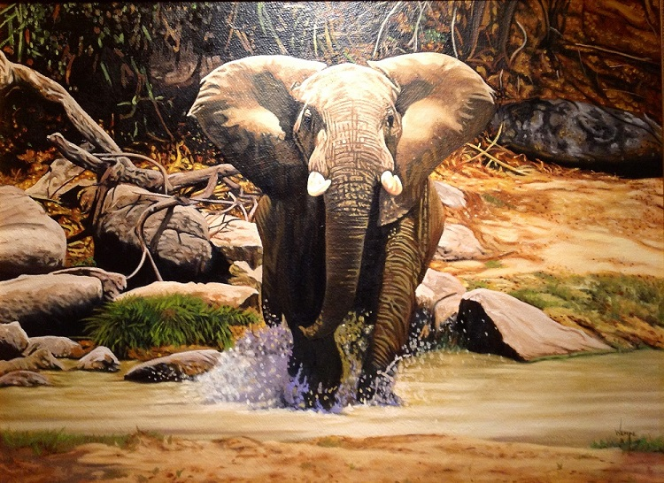 Elephant - painting on hardboard by James Wempe