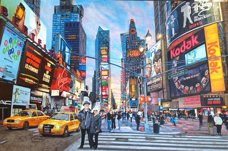 James Wempe - My wife and me at Times Square - acrylic on hardboard 2011