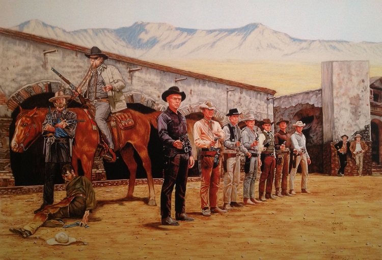 James Wempe painting Hollywood Cowboys - color pencil 2004