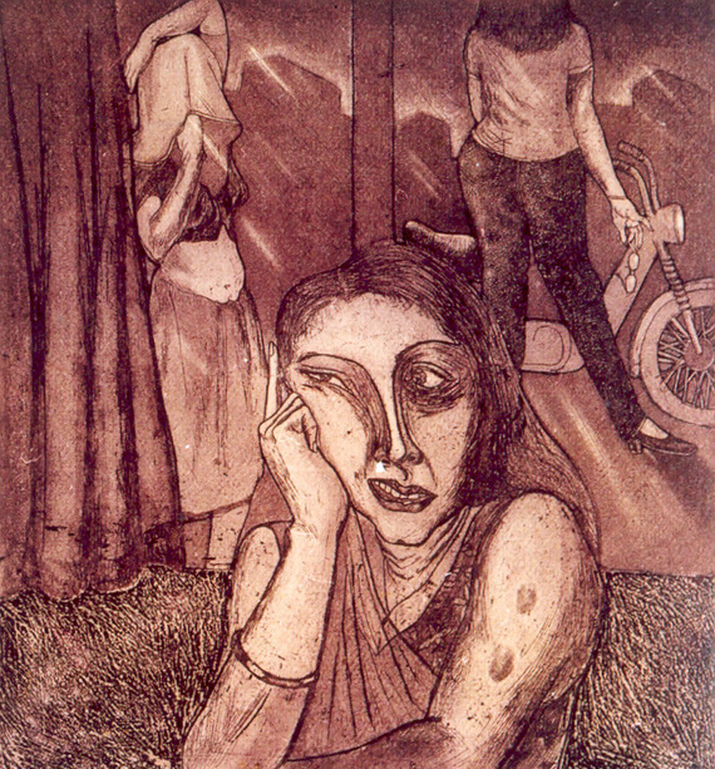 Line Etching on paper paintings by Satyajit Chanda