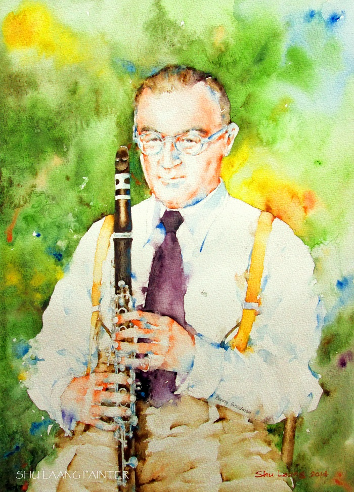 Benny Goodman - Watercolour painting by Goh Shu Laang