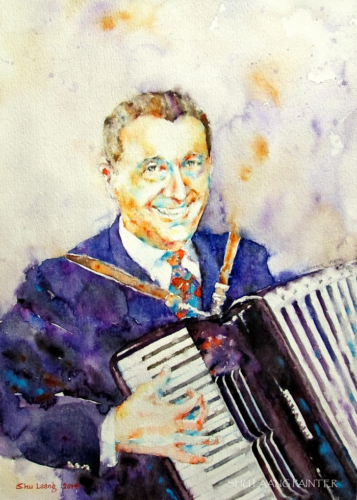 Lawrence Welk - Watercolour painting by Goh Shu Laang