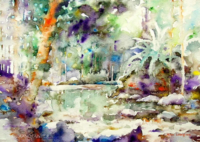 Watercolour painting by Goh Shu Laang - Forest in Kluang (2)