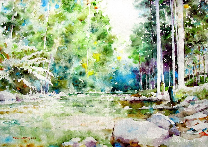 Watercolour painting by Goh Shu Laang - Forest in Kluang
