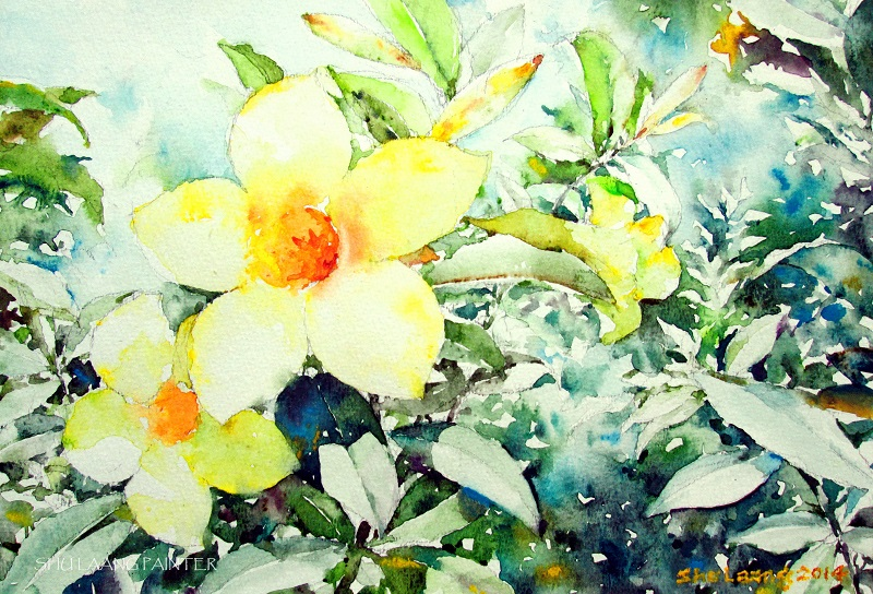 Watercolour painting by Goh Shu Laang - Golden Trumpet