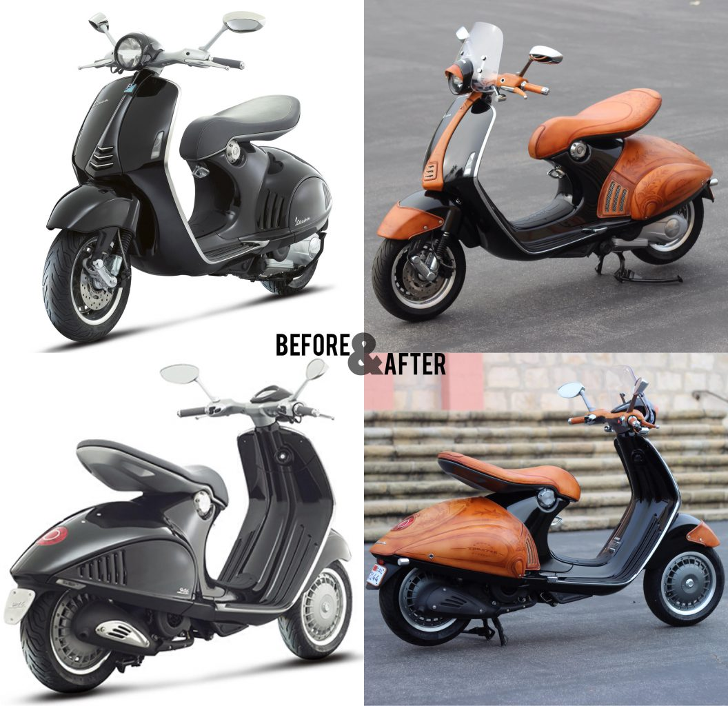 Custom scooter leather designs